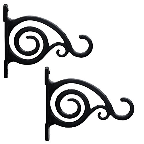 Classic Black Wall Bracket (GrayBunny GB-6836 Fancy Curved Hook, Set of 2, Black, Cast Iron Wall Hooks For Bird Feeders, Planters, Lanterns, Wind Chimes, As Wall Brackets and More!)