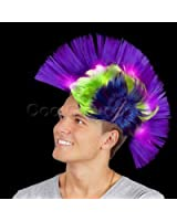 Fun Central AD155 LED Mohawk Wig - Blue and Purple