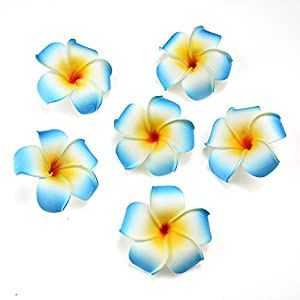 fake flowers heads Plumeria Hair Clip Hawaiian PE Foam Frangipani Artificial Flower for Wedding Party Decoration Fake Egg Flower Bouquets 20pcs 7cm 117