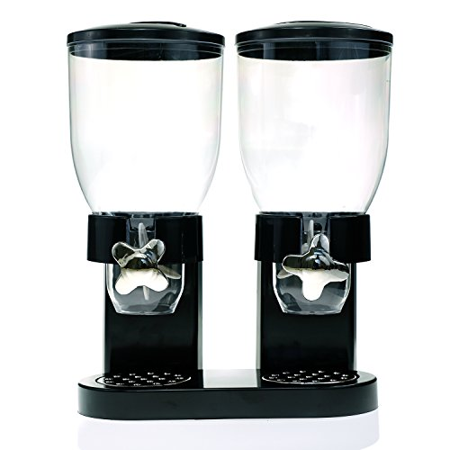 Source One Deluxe Double Acrylic Food Dispenser Available in Black & White (Double Cereal Dispenser)