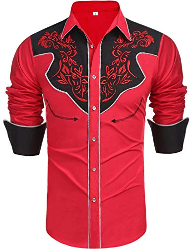 Daupanzees Men's Long Sleeve Embroidered Shirt Slim Fit Colorblock Cowboy Casual Button Down Shirts(Red L) (Embroidered Long Denim Mens Sleeve)