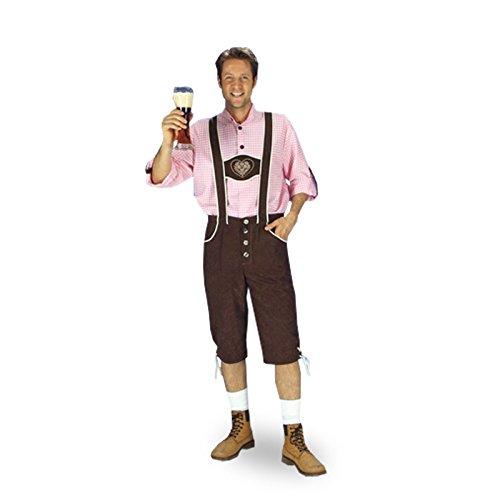 Trachten Lederhose mit Trachtenhemd, 2 tlg. Kostüm für Oktoberfest u Karneval - 54/56