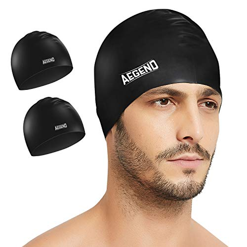 (Aegend 2 Pack Swim Cap, Durable Silicone Swimming Caps for Long Hair Short Hair, Adult Youth Women Men, Black)