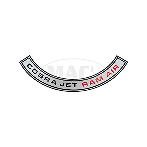 MACs Auto Parts 44-47041 - Mustang Air Cleaner Decal, Shelby Cobra Jet Ram Air (Mustang Engine Decals)