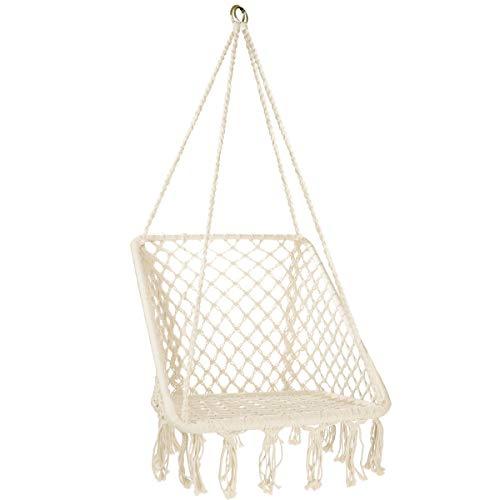 Karriw Hammock Chair Macrame Swing, Cotton Hanging Swing Chair for Indoor, Outdoor, Garden, Home (Beige)