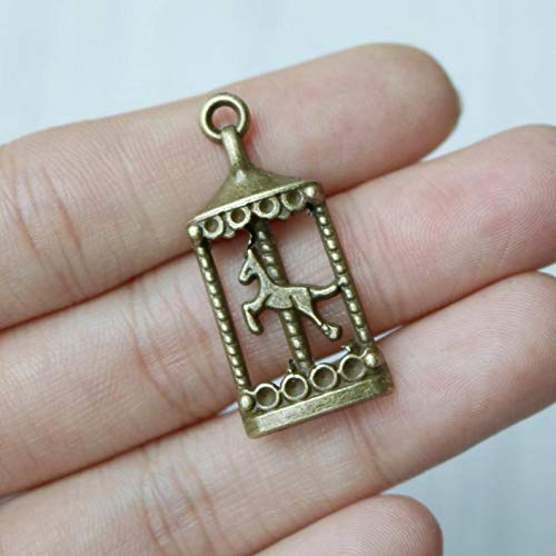 Jewelry Making Made Easy Set of 10, Carousel Charms, Antique Bronze Charm, Horse Carousel Charm, Circus Charm, Festival Charm, Festive Charm, Park Charm