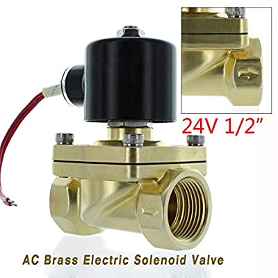 "Solenoid Valve, TBVECHI 1/2"" NPT 24V AC Brass Electric Solenoid Valve 24-Volt AC Water Air Normally Closed Air Gas Viton NC by TBVECHI"