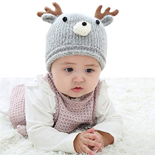 Huuflyty Soft Warm Knitted Baby Hats Caps Cute Cozy Chunky Winter Infant Toddler Baby Beanies for Boys Girls (Warm Knitted ()