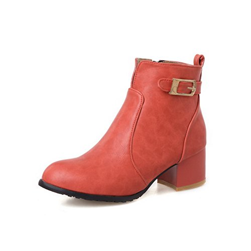 voguezone009-ladies-solid-pu-boots-with-zippers-and-rough-heels-red-42