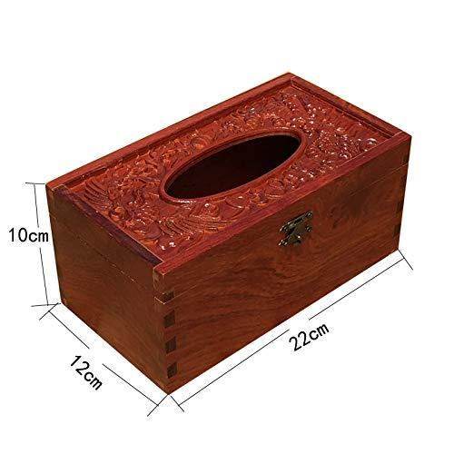 T-ZJHC Burmese Rosewood Solid Wood Living Room Household Tissue Box Desktop Mahogany Reinforcement Tray, Myanmar Dragon and Phoenix Tissue ()