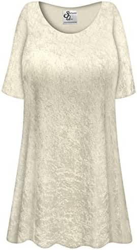 Champagne Crush Velvet Plus Size Supersize Extra Long A-Line Top