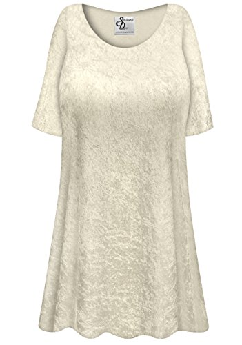 Champagne Crush Velvet Plus Size Supersize Extra Long A-Line Top 2x