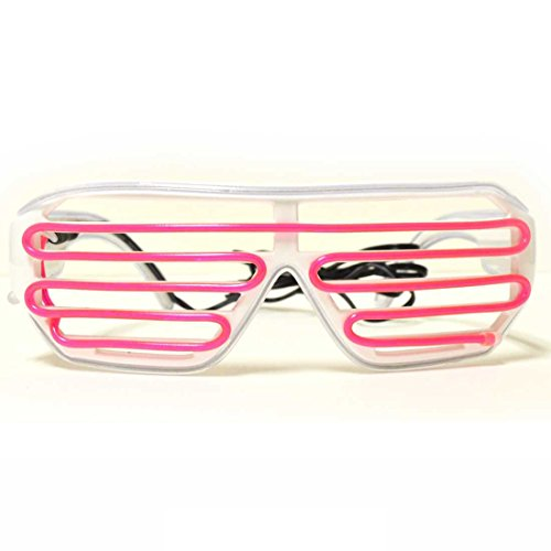 Cyan and Pink LED Glasses - GloFX Luminescence Shutter Frames - EL Light Up Shutter - Cyan Sunglasses