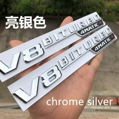 for Fender nameplate Emblem Badge Sticker 2 pcs Chrome V8 BITURBO 4 MATIC