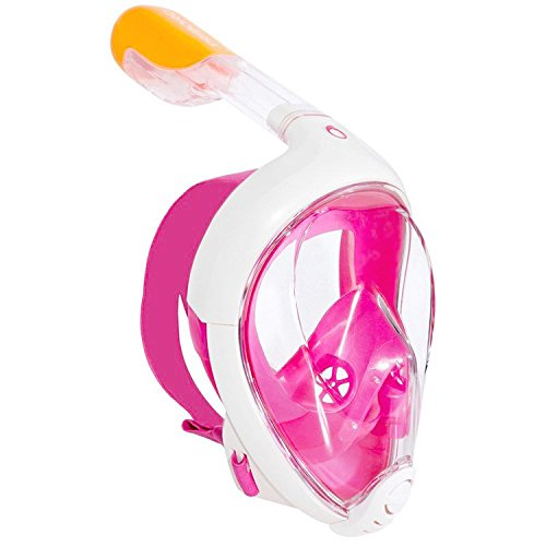TRIBORD SUBEA EASYBREATH (2019 Version) Full FACE ANTIFOG Snorkel MASK with A Secure Lock and Free Replacement Ring & Optional Camera Mount - for Adults OR Kids (Pink, M/L)