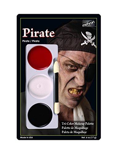 Mehron Makeup Tri-Color Halloween Makeup Kit Palette, PIRATE– Carded (Makeup For Halloween Pirate)