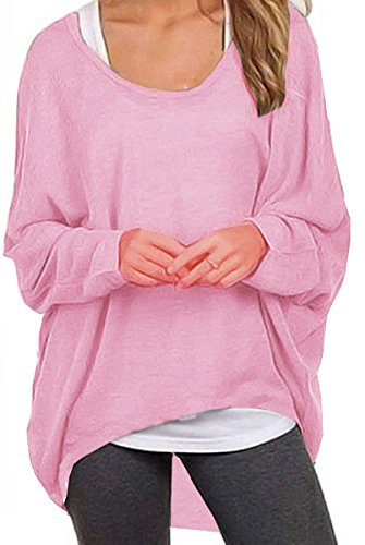 : UGET Women's Casual Oversized Baggy Off-Shoulder Shirts Pullover Tops Asia XL Pink