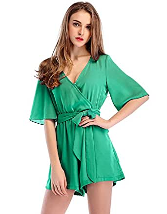 Moxeay Womens Teens Chiffon Short Sleeve Wrap Front V Neck Rompers Jumpsuit (S, Green)