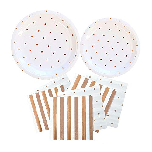 OFACL Glittering Paper Disposable Plates Dinnerware Set Round Plates and Napkins Tableware Set Paper Food Tray for Party Festivals Picnics Wedding Theme Birthday Decorations,Rose Gold Dot,36 Pieces