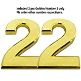 iMustech Mailbox Numbers, 2 Pcs/Set Solid Self-stick Number 2 for Mailbox Door Apartment Hotel, 2-3/4 Inch, 3D Golden Metal
