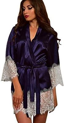 NEW LADIES SATIN LACE FEEL PYJAMAS PJ CAMI DRESS DRESSING GOWN KIMONO