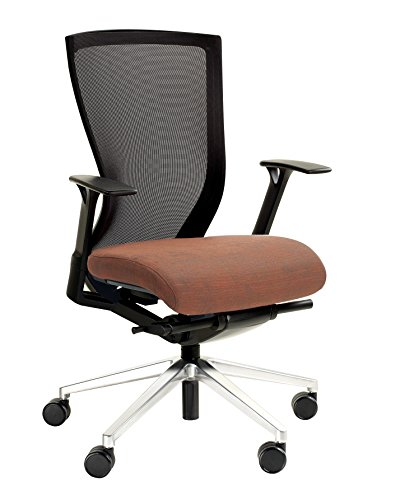 Mesh Tuxedo - KI Altus Mesh Back Adjustable Arm Task Chair, Aluminum 5 Star Base, Hard Floor Casters, Tuxedo Seat/Champagne Mesh Back