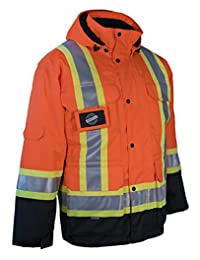3-in-1 Hi Vis Winter Safety Parka with Removable Black Nylon Puff Jacket