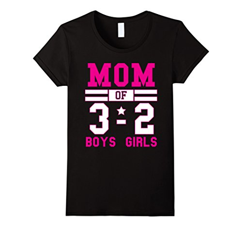 Womens Mom of Three Boys and Two Girls Cheerleader Style ...