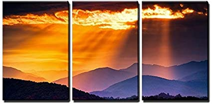 Wall26 3 Piece Canvas Wall Art Colorful Autumn Sunrise Over The Smoky Mountains Modern Home Art Stretched And Framed Ready To Hang 24 X36 X3 Panels Posters Prints Amazon Com