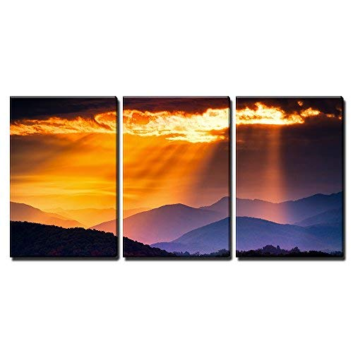 Colorful Autumn Sunrise Over The Smoky Mountains x3 Panels