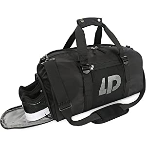 Sports Gym Bag with Shoes Compartment & Wet Pocket Travel Duffle Compartment for Men and Women by Oflamn (Black)