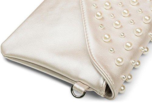 perlas de en claro bolso 02012217 mano seora sobre fiesta grandes Plata pequeas bolso y styleBREAKER Azul de Color de clutch con diseo Aqpwz5z