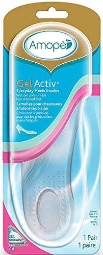 Amope GelActiv Everyday Heels Insoles for Women, 1 Pair, Size 5-10 (Pack of 2)