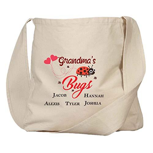 Personalized Custom Grandma's Bugs Lady Bug Hearts Organic Cotton Market Bag
