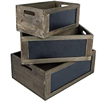 MyGift Rustic Brown Wood Nesting Storage Crates with Chalkboard Front Panel and Cutout Handles, Set of 3