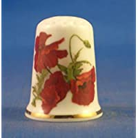 Birchcroft Porcelaine Chine à Collectionner Dé à Coudre Coquelicot Rouge Spray
