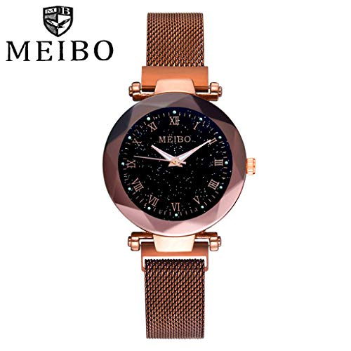 Luxury Fashion Starry Sky Analogue Quartz Watches with Magnetic Band Diamond Cutting Sandstone Dial Lady Watch (Coffee)