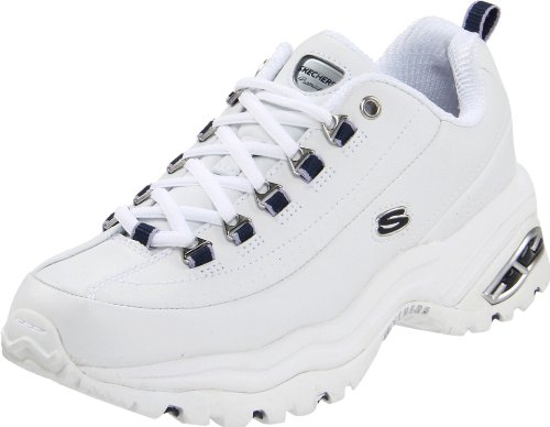SKECHERS Women's Premiums White Smooth Leather/Navy Trim Oxford - Skechers Extra Wide Womens Shoes
