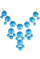 Color Bubble BIB Statement Fashion Necklace - Sky Blue