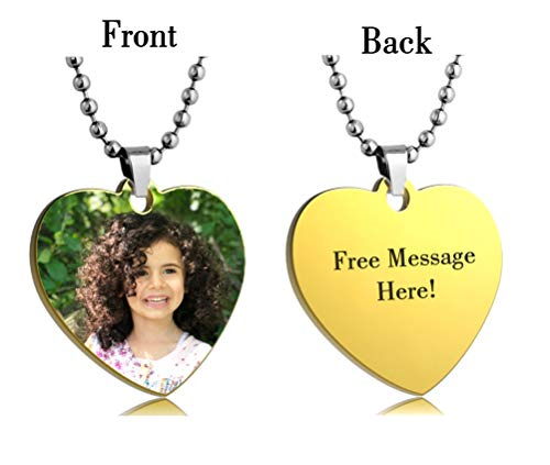Interway Trading Personalized Heart Custom Photo Color Engraved Dog Tag Necklace Pendant with 24 inch Stainless Steel Chain, Velvet Giftpouch and Keyring