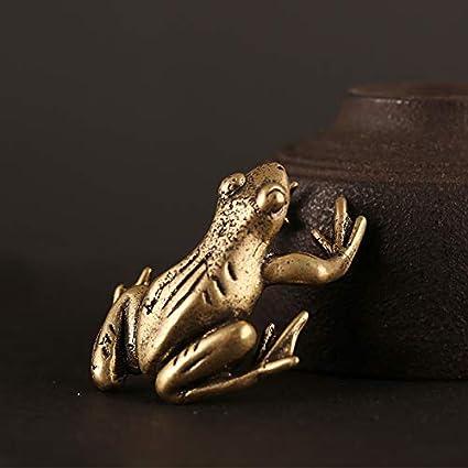 XIAOXX Antiguo Hecho a Mano pequeña Rana de Bronce té decoración de Mesa para Mascotas artesanía de Metal decoración de Escritorio