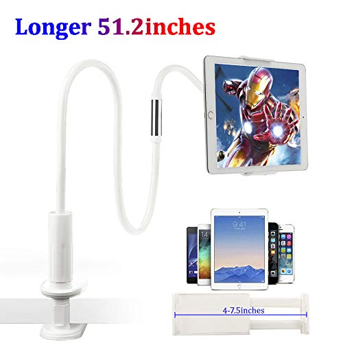Tablet Stand Clamp Mount, Adjustable Long Arm Gooseneck Tablet Holder 360° Rotating Cellphone Holder for Bed Compatible for iPad iPhone Cell Phone Mini Kindle 4.7-10.5 inch, Length 51.2inch (Sliver)