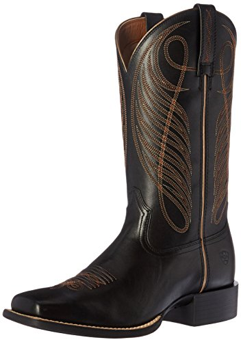 Ariat Women's Round Up Wide Square Toe Western Cowboy Boot, Limousine Black, 8 B US