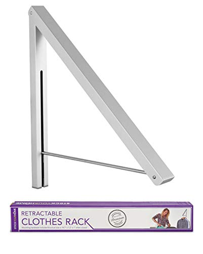 Stock Your Home Retractable Clothes Rack - Wall Mounted Folding Clothes Hanger Drying Rack for Laundry Room Closet Storage Organization, Aluminum, Easy Installation (Silver)