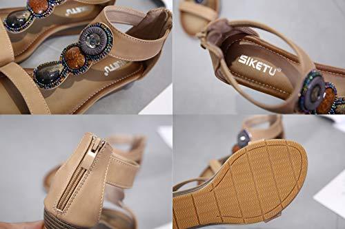 Clip Haute Bohémien Sandales Flip Toe Roma Perle Femmes Chaussures Newcolor Talon Compensé Flops q6aX6wg