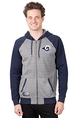 ICER Brands Adult Men Full Zip Hoodie Sweatshirt Raglan Jacket, Team Color, Gray, Medium (Color Team Jacket)