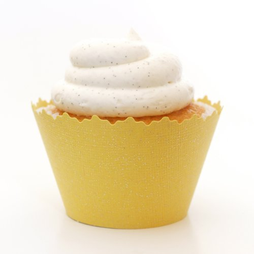 Glitter Colored Cupcake Wrappers - Set of 12 (Glitter Sun Yellow) (Liners Sun Cupcake)