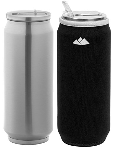 Wealers Double Wall Stainless Steel Water Bottle Vacuum Insulated Straw Tumbler Beer Can Size 17oz with Neoprene Sleeve (Black )