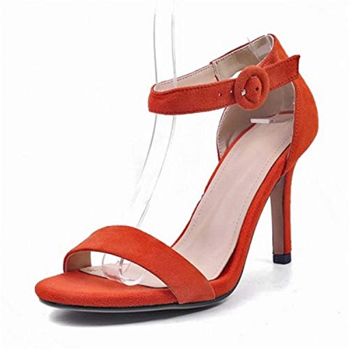 NNHLPO& Women High Heel Sandals Real Leather Ankle Strap Open Toe Sandals Woman Party Footwear Size 33-40 Orange 3