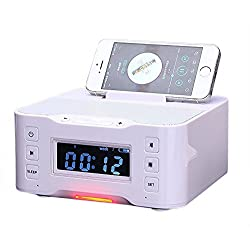 PowerLead NFC Bluetooth Docking Speaker Supported Radio Alarm Clock for Apple/Samsung/LG Phones & Tablets---White